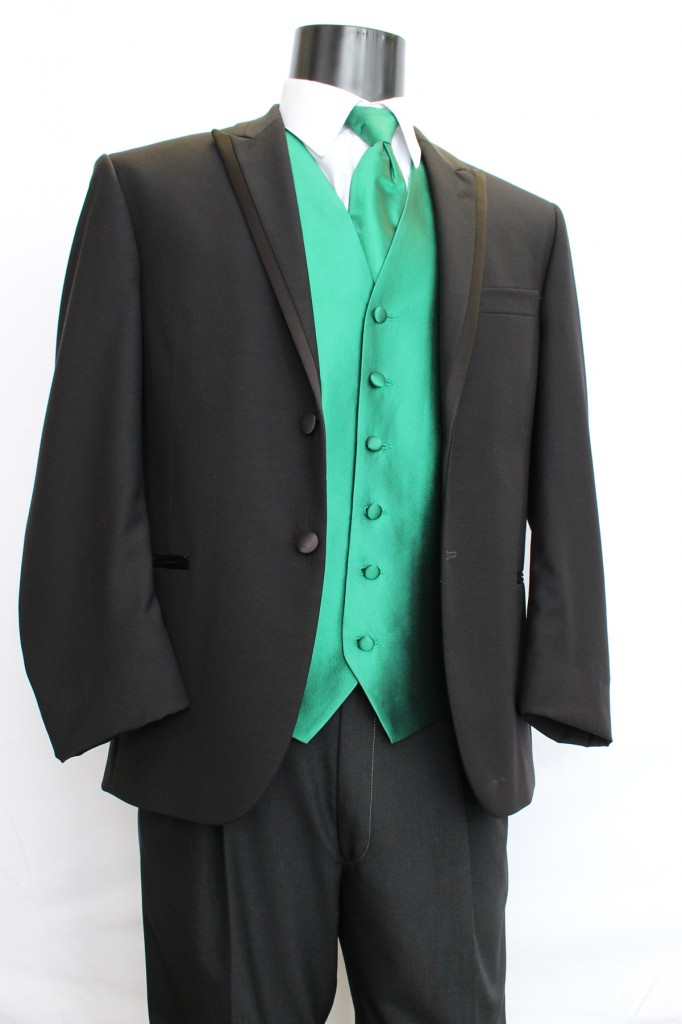 Black Tuxedo 2 button Peak Lapel with Satin Trim