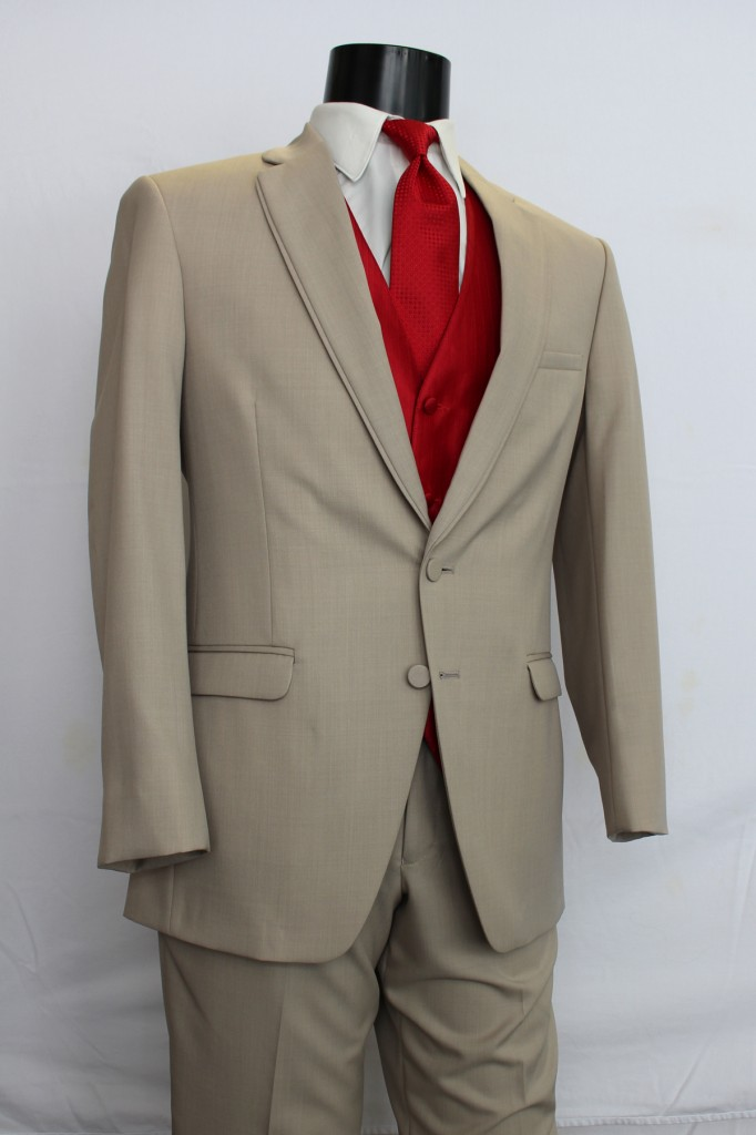 Tan Allure 2 button Notch Lapel Tuxedo