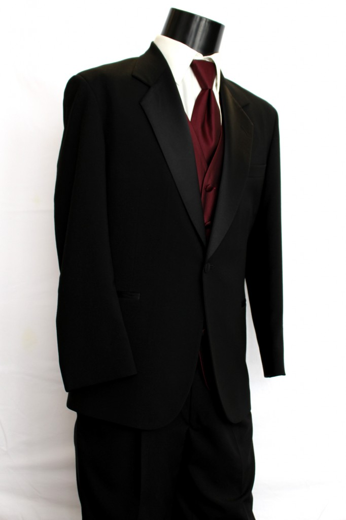 Black Tuxedo 2 button Notch Lapel
