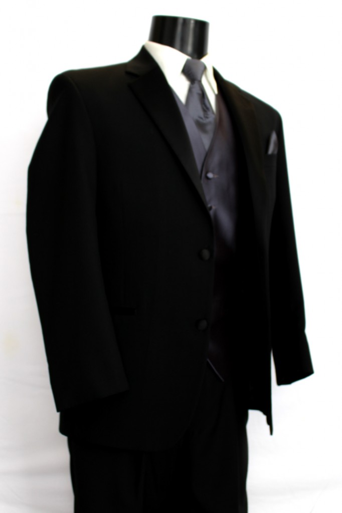 Black 1 button Notch Lapel