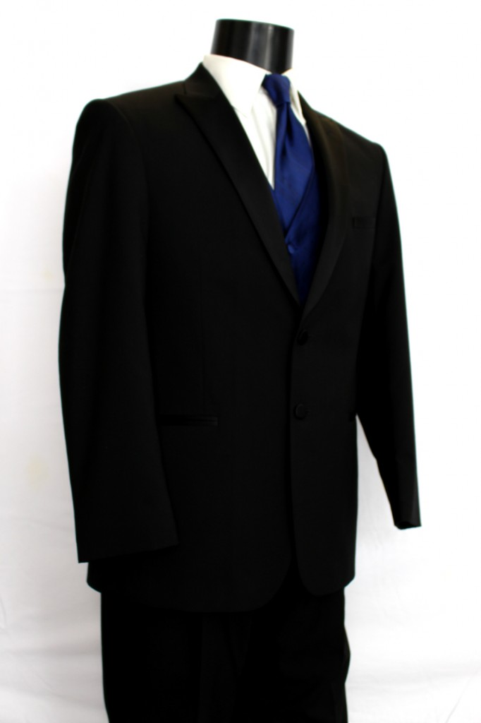 Black 2 button Peak Lapel