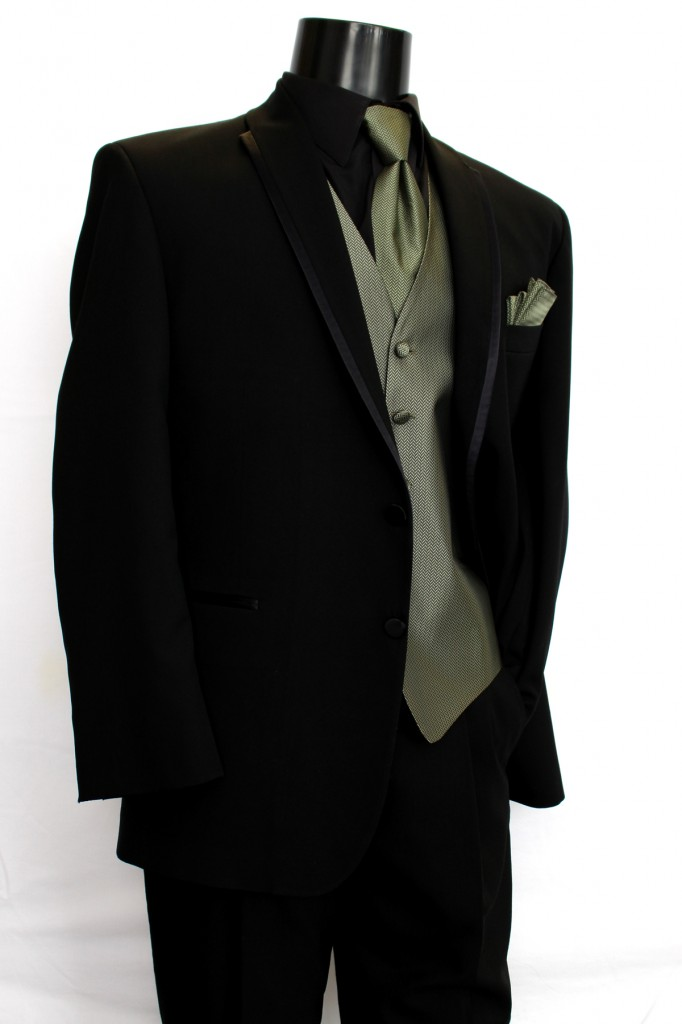 Black 2 button Satin Trim Lapel