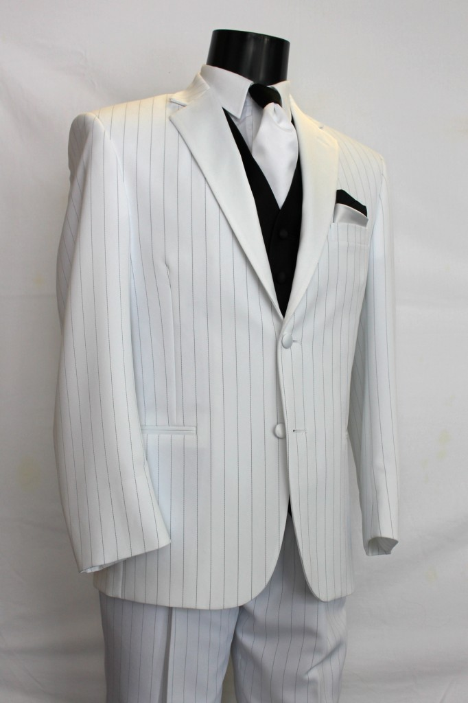 White Tuxedo with Black Pinstripes
